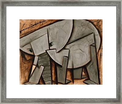 Abstract Cubism Elephant Art Print Framed Print by Tommervik
