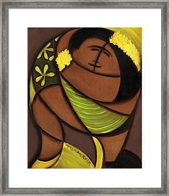 Hawaiian Couple Dancing Art Print Framed Print by Tommervik
