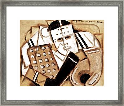 Vintage Hockey Goalie Art Print Framed Print by Tommervik