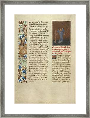 Tondals Soul Enters Hell, Accompanied By His Guardian Angel Framed Print