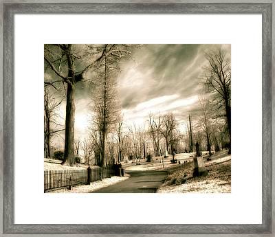 Toned Infrared Graveyard  Framed Print