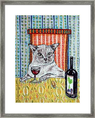Tonkinese Cat At The Wine Bar Framed Print by Jay  Schmetz