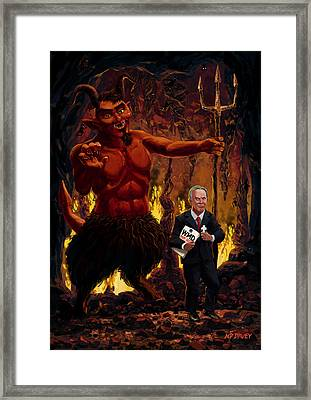 Tony Blair In Hell With Devil And Holding Weapons Of Mass Destruction Document Framed Print by Martin Davey