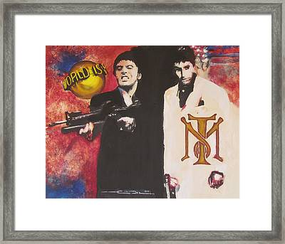 Tony Montana And Friend Framed Print by Eric Dee