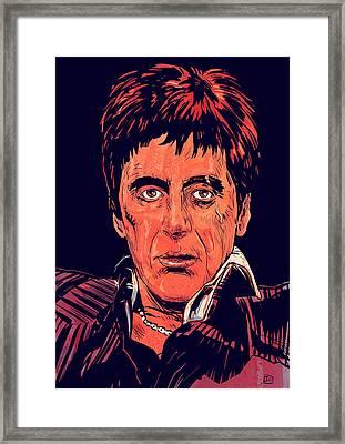 Tony Montana Framed Print by Giuseppe Cristiano