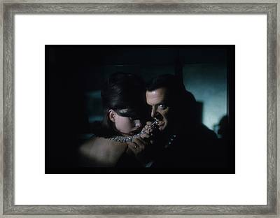 Tony Randall Biting A Cartier Necklace Framed Print