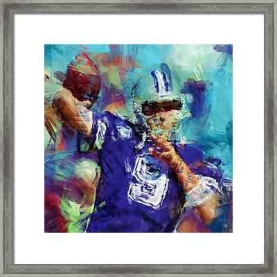 Tony Romo Abstract 3 Framed Print by David G Paul