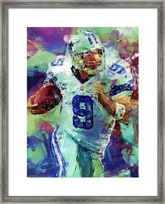 Tony Romo Abstract 4 Framed Print by David G Paul