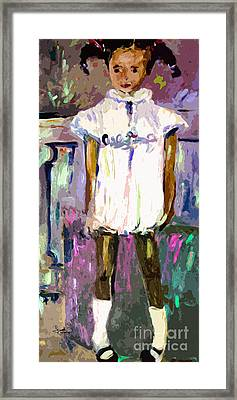 Tonya Was A Shy Girl Child Portrait Framed Print by Ginette Callaway