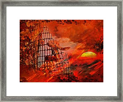 Too Hot To Handle-water Moccasin Framed Print by J Larry Walker