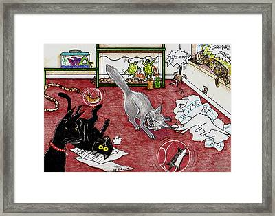 Framed Print featuring the drawing Too Many Pets by Shawna Rowe