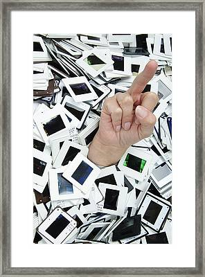 Too Many Slides - Hand Giving The Middle Finger Framed Print by Matthias Hauser