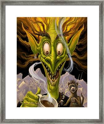 Too Much Coffee Troll Framed Print by Jeff Haynie