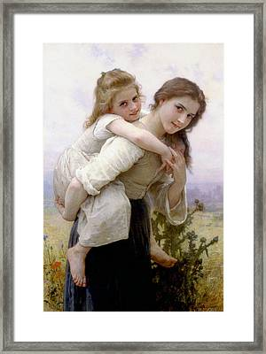 Framed Print featuring the digital art Too Much To Carry by Bouguereau
