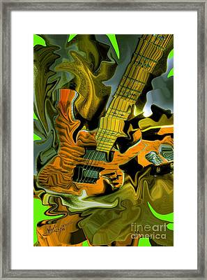 Too Much Vibrations Digital Guitar Art By Steven Langston Framed Print by Steven Lebron Langston