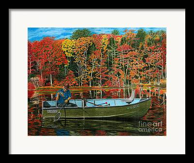 Autumn Leaf On Water Drawings Framed Prints