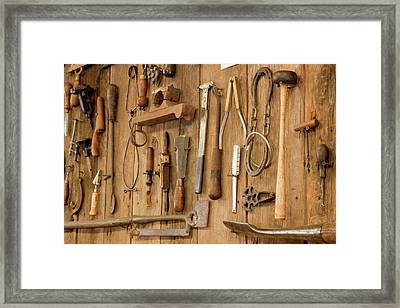 Tools Mounted On Wooden Wall Framed Print