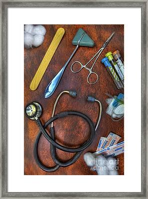 Tools Of The Trade In Orange - Nurse Framed Print by Lee Dos Santos