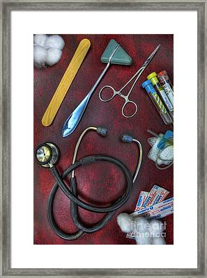 Tools Of The Trade In Red - Nurse Framed Print by Lee Dos Santos