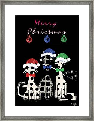 Framed Print featuring the digital art Toon Cats Christmas by Arline Wagner