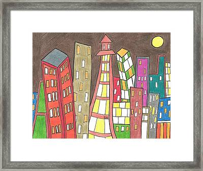Toon City Scape Framed Print by Ray Ratzlaff