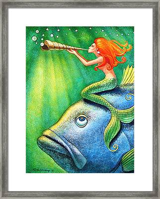 Toot Your Own Seashell Mermaid Framed Print