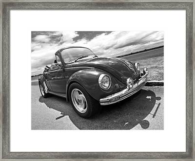 Top Down Cruising - Vw Bug Black And White Framed Print by Gill Billington