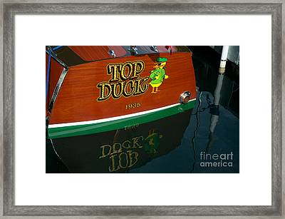 Framed Print featuring the photograph Top Duck At Tahoe's Wooden Boat Festival  by Vinnie Oakes