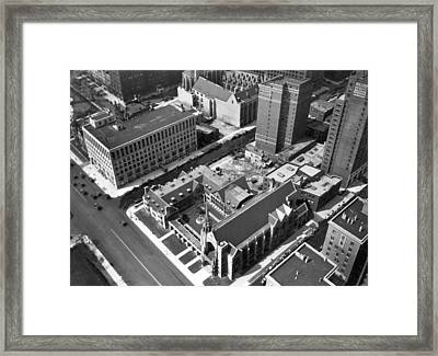 Top Of Palmolive Building View Framed Print by Underwood Archives