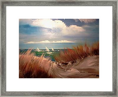 Top Of The Dune Framed Print by Joseph Gallant