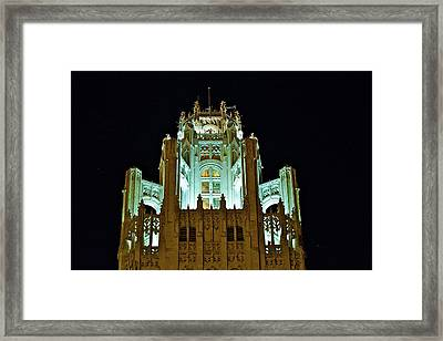Top Of The Tribune Tower Framed Print by John Babis