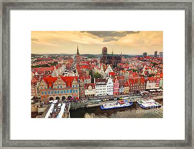 Top View On Gdansk Old Town And Motlawa River Framed Print