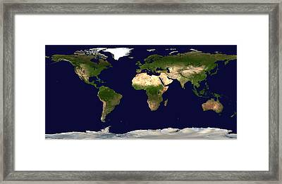 Topo Map Of The World Framed Print by Sebastian Musial