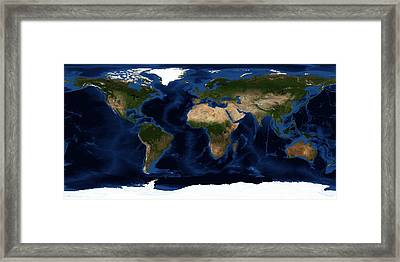 Topography Map Of The World Framed Print by Sebastian Musial