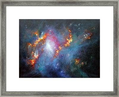 Topsy Turvy Galaxy Ngc1313 Framed Print by Marie Green