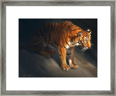 Framed Print featuring the digital art Torch Tiger 1 by Aaron Blaise