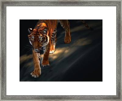 Framed Print featuring the digital art Torch Tiger 2 by Aaron Blaise
