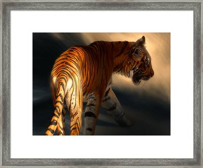 Framed Print featuring the digital art Torch Tiger 3 by Aaron Blaise