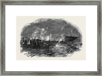 Torchlight Launch Of The Iron Screw Steamer Azoff Framed Print by English School