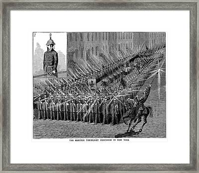 Torchlight Parade In New York Framed Print by Universal History Archive/uig
