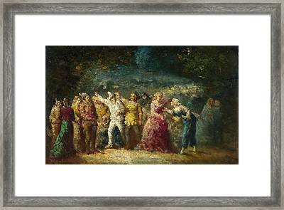 Torchlight Procession Framed Print by Adolphe Monticelli