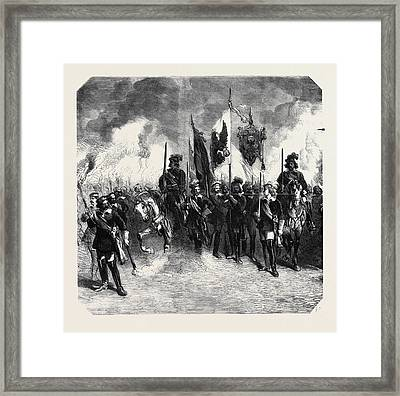 Torchlight Procession Of The Students In Berlin In Honour Framed Print by German School