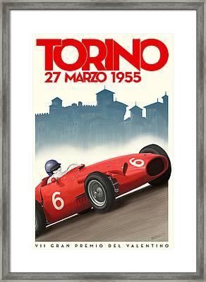 Torino Grand Prix 1955 Framed Print by Georgia Fowler