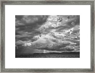 Tornado Clouds Over Lake Champlain Burlington Vermont Black And White Framed Print