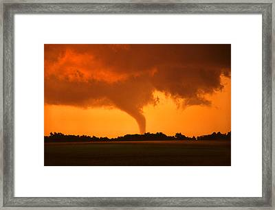 Framed Print featuring the photograph Tornado Sunset by Jason Politte