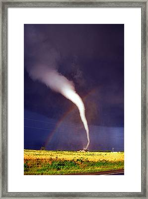 Framed Print featuring the photograph Tornado With Rainbow In Mulvane Kansas by Jason Politte