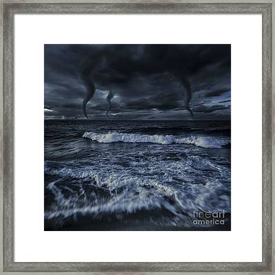 Tornados In A Rough Sea Against Stormy Framed Print by Evgeny Kuklev