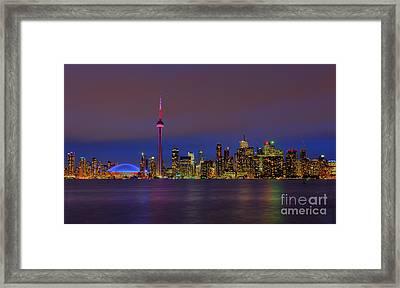 Toronto By Night... Framed Print by Nina Stavlund