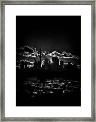 Toronto Canada Skyline At Sunset From The Pape St Bridge Framed Print by Brian Carson