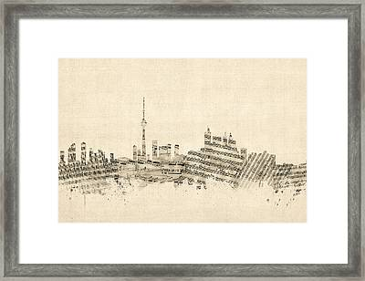 Toronto Canada Skyline Sheet Music Cityscape Framed Print by Michael Tompsett